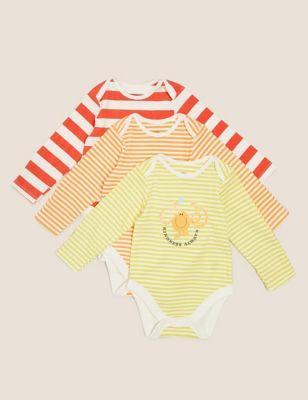 3pk Pure Cotton Mr Men™ Stripe Bodysuits (7lbs-3 Yrs )