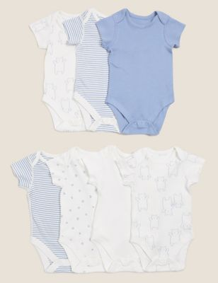 7pk Pure Cotton Printed Bodysuits (0-3 Yrs)