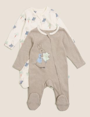2pk Pure Cotton Peter Rabbit™ Sleepsuits (7lbs-3 Yrs)