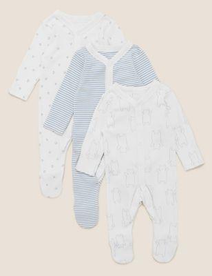 3pk Pure Cotton Printed Sleepsuits (5lbs-3 Yrs)