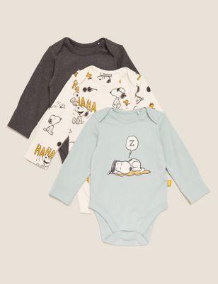 3pk Pure Cotton Snoopy™ Bodysuits (5lbs-3 Yrs)