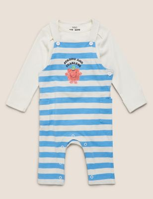 2pc Pure Cotton Mr Men™ Dungaree Outfit (7lbs-3 Yrs )