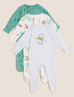3pk Pure Cotton Winnie the Pooh™ Sleepsuits (61/2lbs - 3 Yrs)