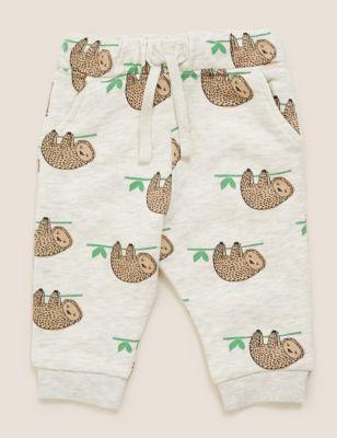 Cotton Sloth Print Joggers (0-3 Yrs)