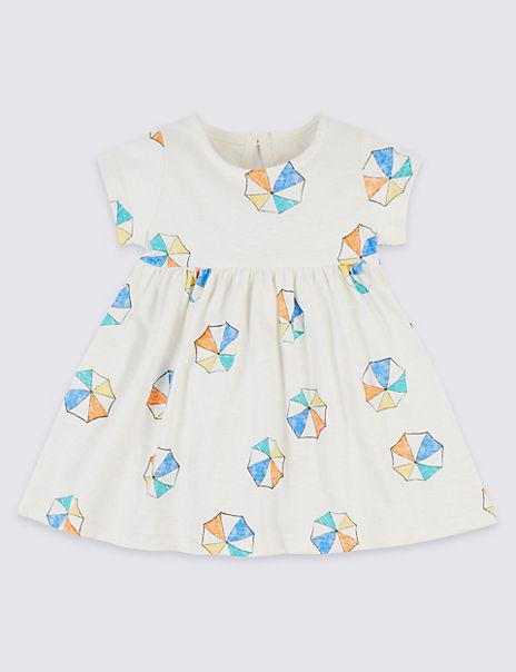 Pure Cotton Parasol Print Jersey Dress