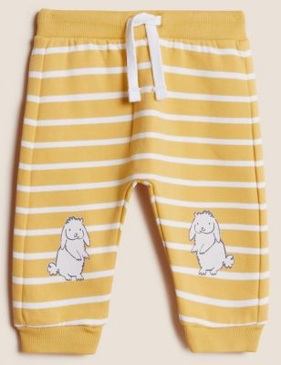 Cotton Striped Bunny Joggers (0-3 Yrs)