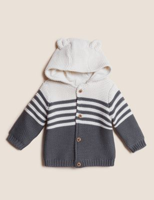Pure Cotton Knitted Chunky Striped Cardigan (0-3 Yrs)