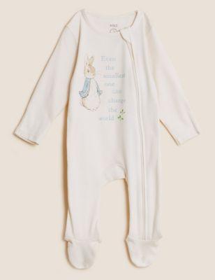 2pk Pure Cotton Peter Rabbit™ Sleepsuits (0-3 Yrs)