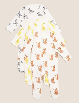 3pk Pure Cotton Safari Sleepsuits (61/2lbs- 3 Yrs)