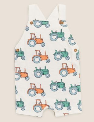 Organic Cotton Tractor Print Romper (0-3 Yrs)