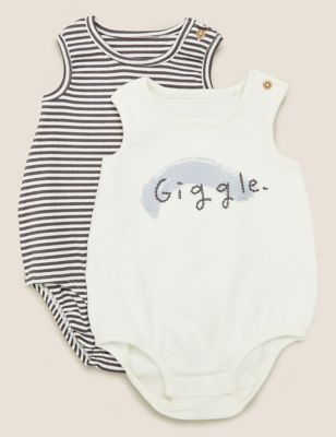 2pk Giggle Slogan Bodysuits (7lbs-12 Mths)