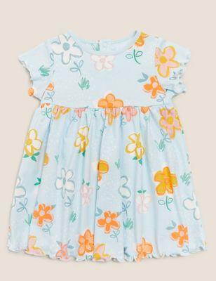 Organic Cotton Floral Print Dress (0-3 Yrs)