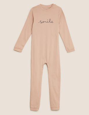 Adaptive Pure Cotton Smile Slogan Sleepsuit (3-16 Yrs)