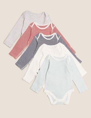 5pk Organic Cotton Striped Bodysuits (6½lbs - 3 Yrs)