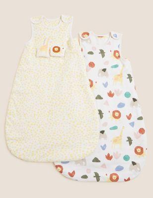 2pk Pure Cotton 2.5 Tog Sleeping Bags (0-36 Mths)