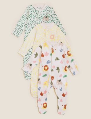 3pk Pure Cotton Animal Print Sleepsuits (61/2lbs- 3 Yrs)