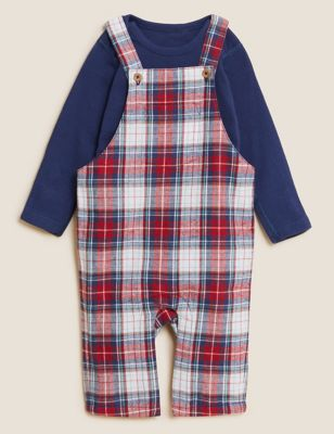 2pc Pure Cotton Checked Dungaree Outfit (0-3 Yrs)