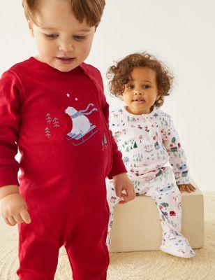 2pk Pure Cotton Winter Print Sleepsuits (0-3 Yrs)