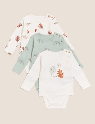 3pk Pure Cotton Integrated Bodysuits (0-3 Yrs)
