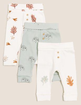3pk Cotton Woodland Print Leggings (0 - 3 Yrs)