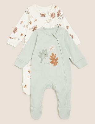 2pk Pure Cotton Leaf Print Sleepsuit (0-3 Yrs)