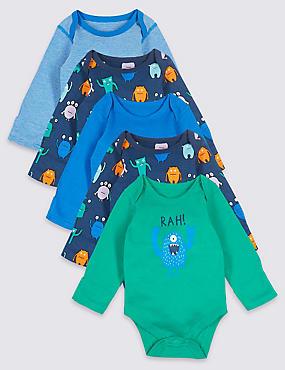 5 Pack Pure Cotton Monster Bodysuits, BRIGHT BLUE, catlanding