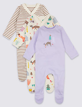 3 Pack Woodland Pure Cotton Sleepsuits, MULTI, catlanding