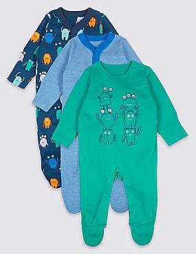 3 Pack Monster Print Pure Cotton Sleepsuits, BRIGHT BLUE, catlanding