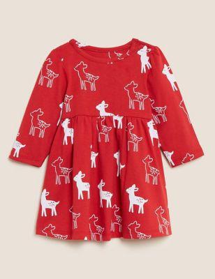 Pure Cotton Deer Print Dress (0-3 Yrs)