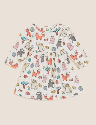 Pure Cotton Woodland Print Dress (0-3 Yrs)
