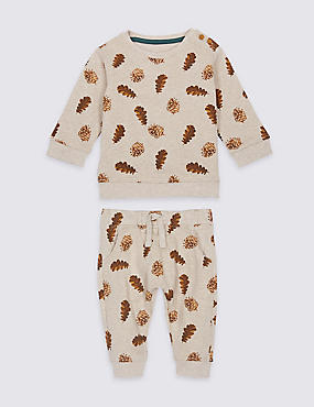 2 Piece All Over Print Top & Bottom Outfit, OATMEAL MIX, catlanding