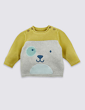Pure Cotton Knitted Embroidered Jumper, GREY MARL, catlanding