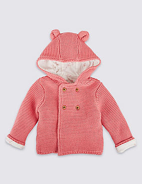 Pure Cotton Chunky Knit Hooded Cardigan, LIGHT PINK, catlanding