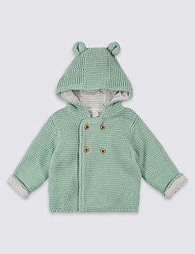 Pure Cotton Chunky Knitted Hooded Cardigan, LIGHT GREEN, catlanding
