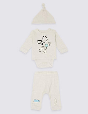 3 Piece Bodysuit & Jogger with Hat Outfit, GREY MARL, catlanding