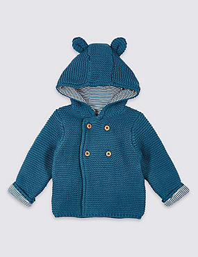 Pure Cotton Chunky Knit Hooded Cardigan, BLUE, catlanding