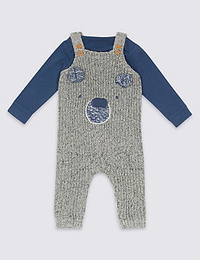 2 Piece Knitted Dungarees & Bodysuit Outfit, HOLLY, catlanding
