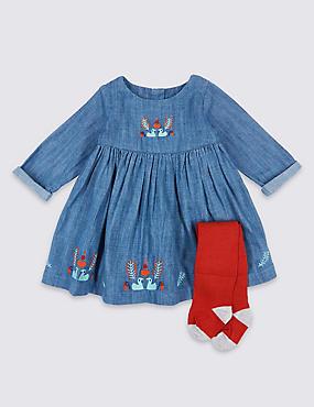 2 Piece Embroidered Baby Dress with Tights, DARK INDIGO, catlanding