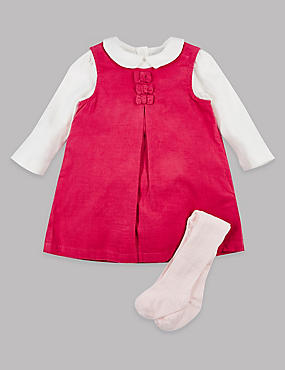 3 Piece Dress & Bodysuit with Tights, PINK MIX, catlanding
