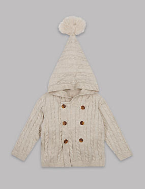 Pure Cotton Cable Knit Hooded Cardigan, LIGHT CREAM, catlanding