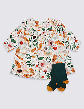 2 Piece Frill Printed Baby Dress with Tights, MULTI, catlanding