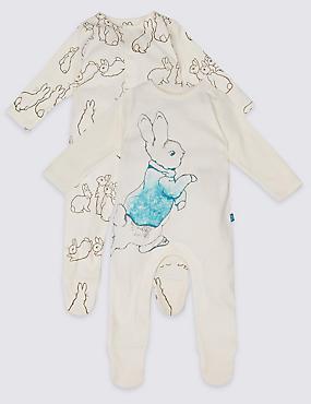 2 Pack Peter Rabbit™ Pure Cotton Sleepsuits, VANILLA, catlanding