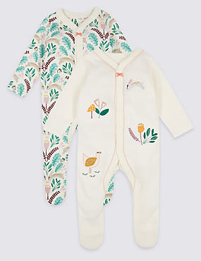 2 Pack Embroidered Pure Cotton Sleepsuits, CREAM MIX, catlanding