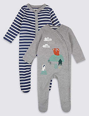 3 Pack Woodland Pure Cotton Sleepsuits, NAVY MIX, catlanding