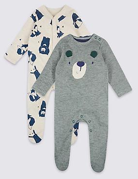 2 Pack Applique Pure Cotton Sleepsuits, GREY MIX, catlanding