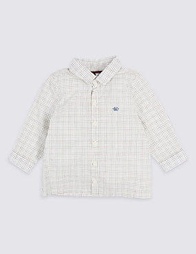 Pure Cotton Checked Shirt, WHITE MIX, catlanding