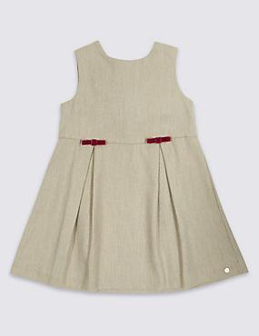 Sleeveless Piny Dress with Wool, OATMEAL, catlanding