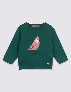 Intarsia Knitted Jumper, GREEN MIX, catlanding