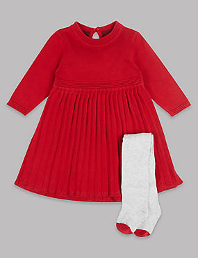 2 Piece Knitted Pleat Dress with Tights, RED, catlanding