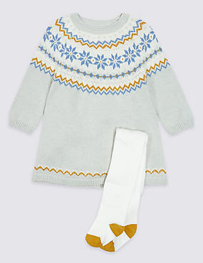 2 Piece Fairisle Baby Dress with Tights, GREY MARL, catlanding